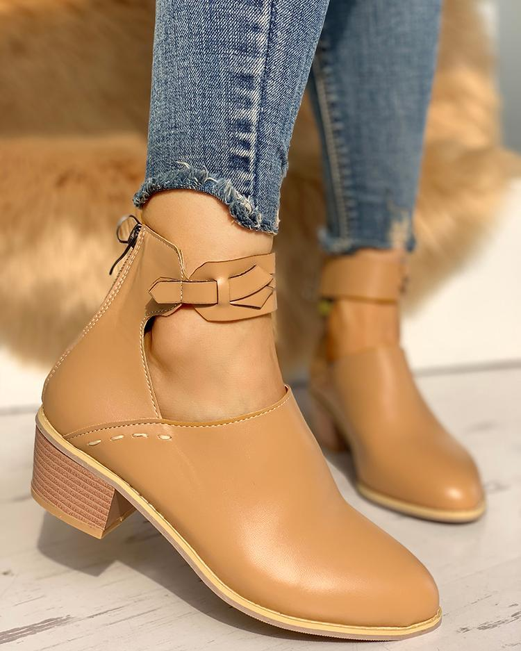 Ankle Strap Cut Out Pointed Toe Boots