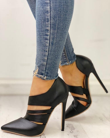 Pointed Toe Cut Out Thin Heels