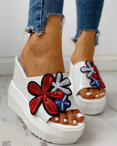 Floral Embroidery Platform Wedge Muffin Sandals