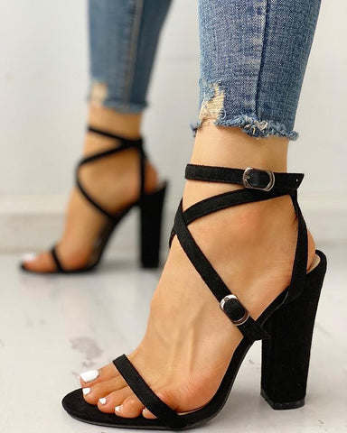Crisscross Bandage Suede Chunky Sandals