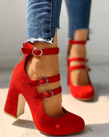 Suede Multi-Strap Buckled Chunky Heels