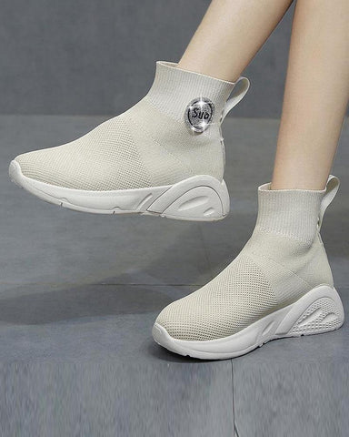 Solid High Top Platform Sneaker