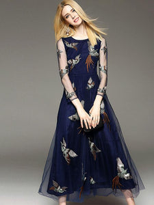 Elegant Embroidery O-Neck Long Sleeve Maxi Dress