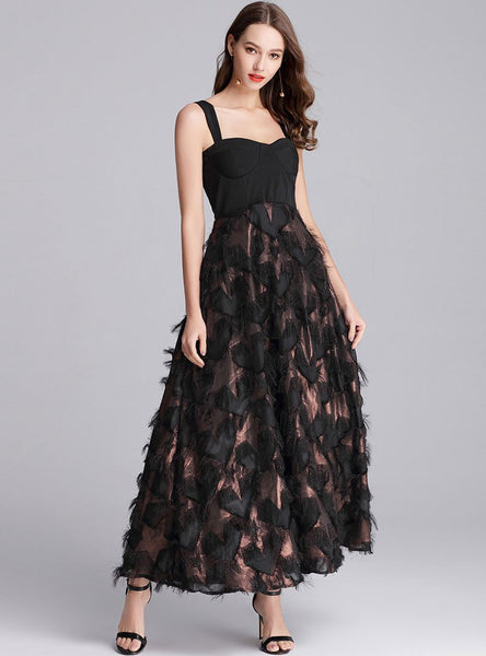 Black Strap Cinched Waist Swing Maxi Dress