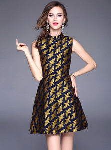 Gold Printed Cinched Waist Mini Dress