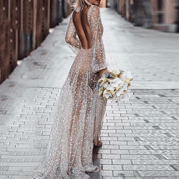 Sexy Deep V-Neck Backless Sequin Transparently Maxi Dress