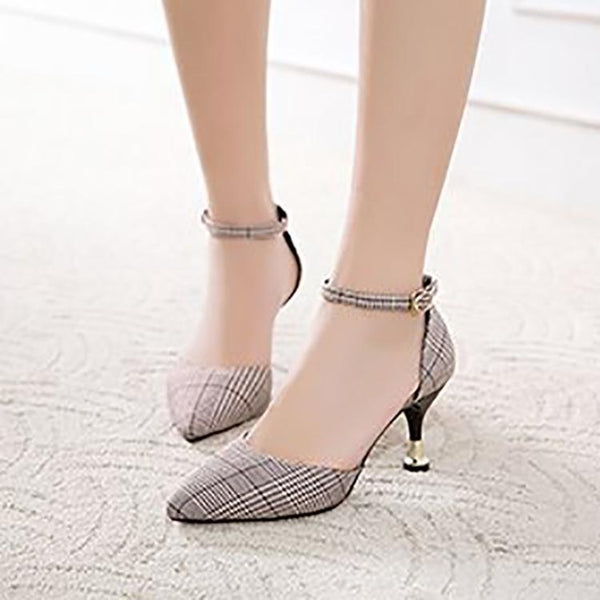 Fashion Retro Lattice Pointed Mueller Woman Shoes
