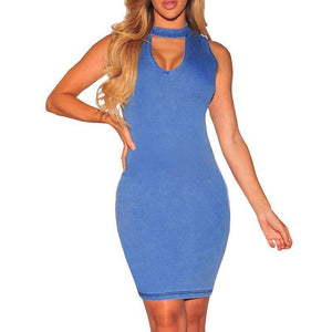 Sexy Pure Color Round Collar Hollow Denim Bodycon Dress