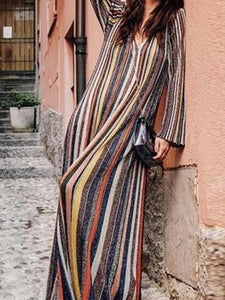 Elegant Stripes Long Sleeve Oversize Maxi Dress