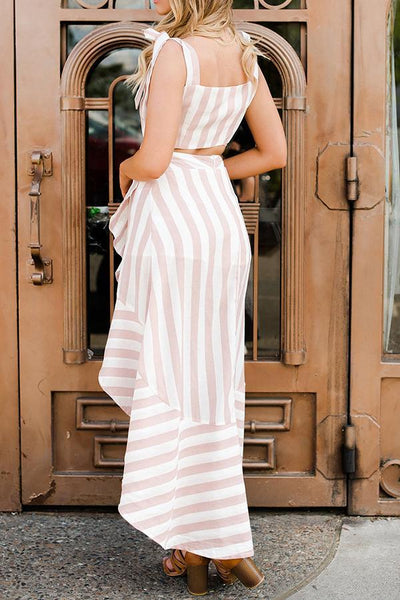 Sexy Stripe Two-Piece Set Maxi Dress