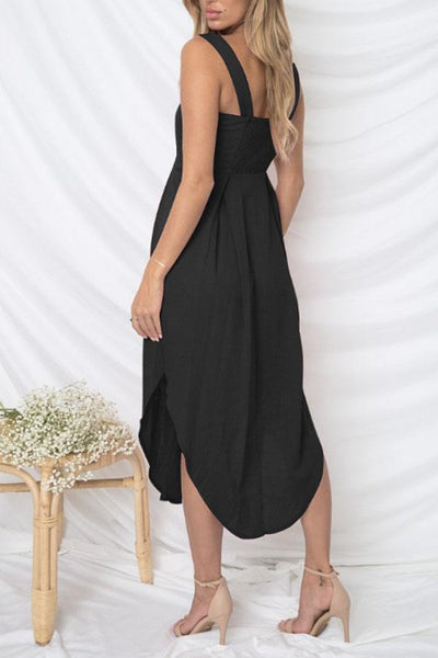 Spaghetti Strap  Asymmetric Hem Single Breasted  Plain  Sleeveless Maxi Dresses
