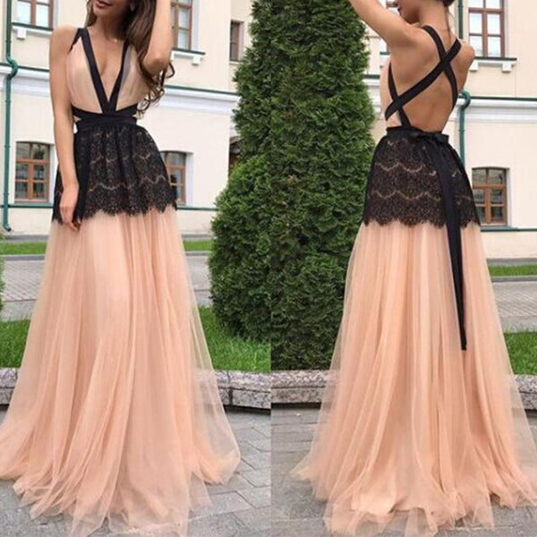 Sexy Deep V Neck Backless Lace Patchwork Maxi Dress