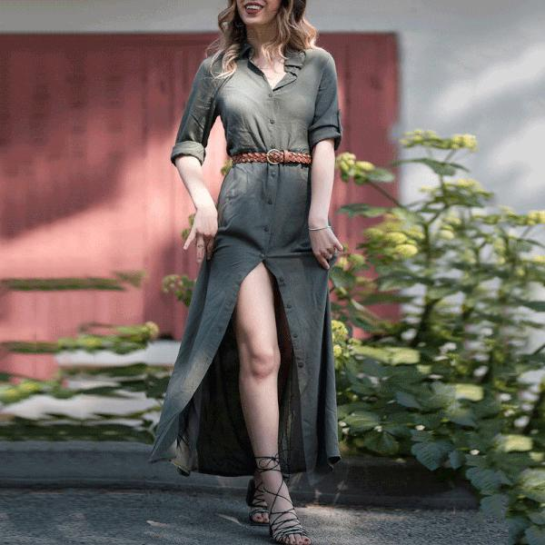 Elegant Army Green Button Maxi Dress
