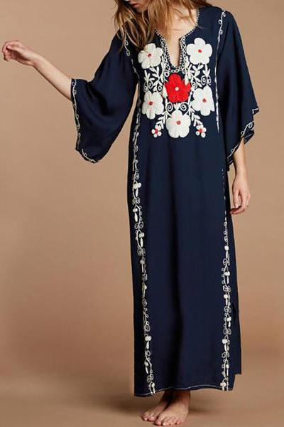 Cotton Embroidered Beach Holiday Dress