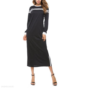 Striped Stitching Crew Neck Long Sleeve Dress