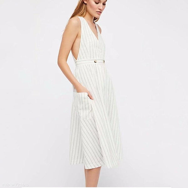 Striped Button Vest Dress