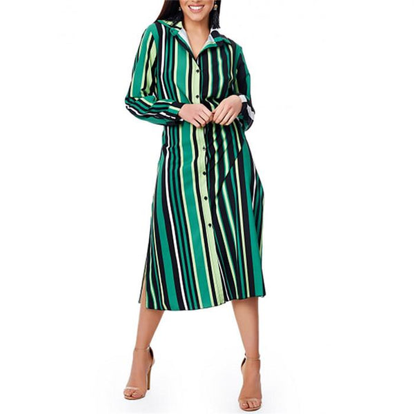 Casual Striped Long Sleeve Contrast Dress