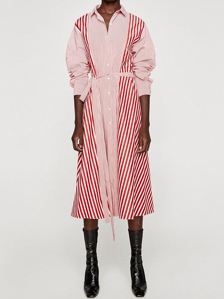 Casual Shirt-Style Striped Stitching Dress