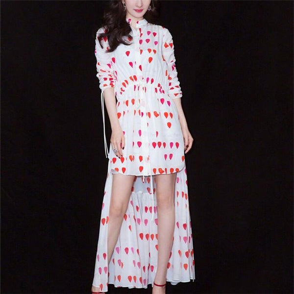 Printed Long Sleeve Button Dress