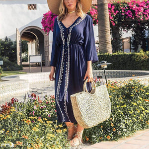 Casual V Neck Lace-Up Splicing Dress