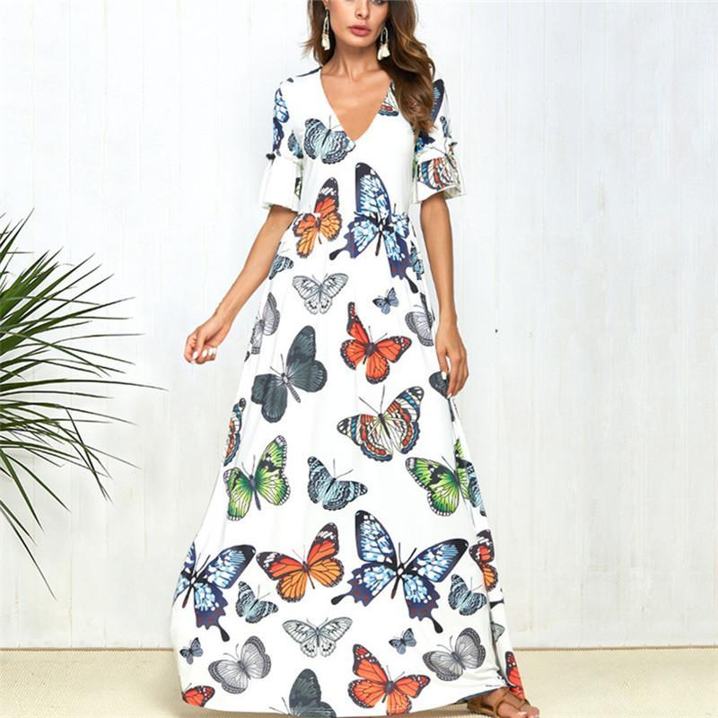 Sexy V-Collar Print Swagger Casual Dress