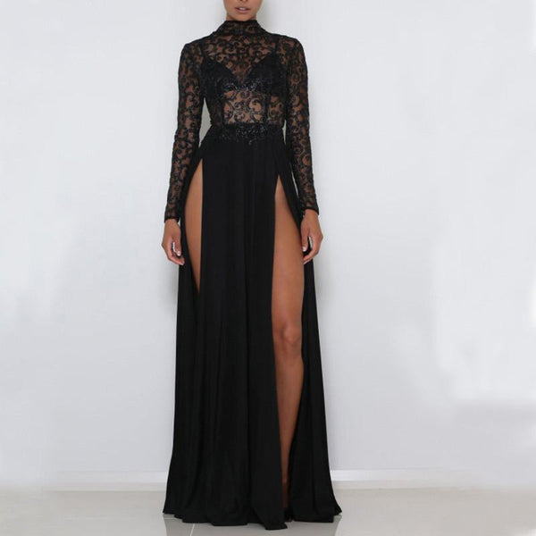 Sexy Perspective Sequined Split Slim Maxi Dress
