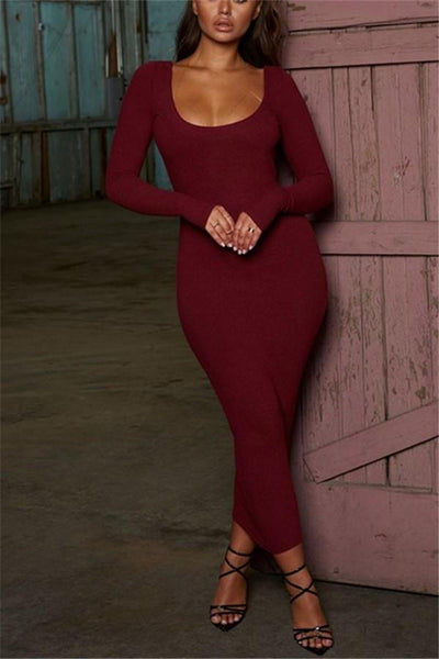 Sexy V Neck Bare Back Slim Waist Knit Sweater Maxi Dress