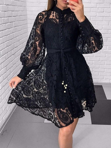 Lace Above Knee Long Sleeve Casual Single-Breasted Dress