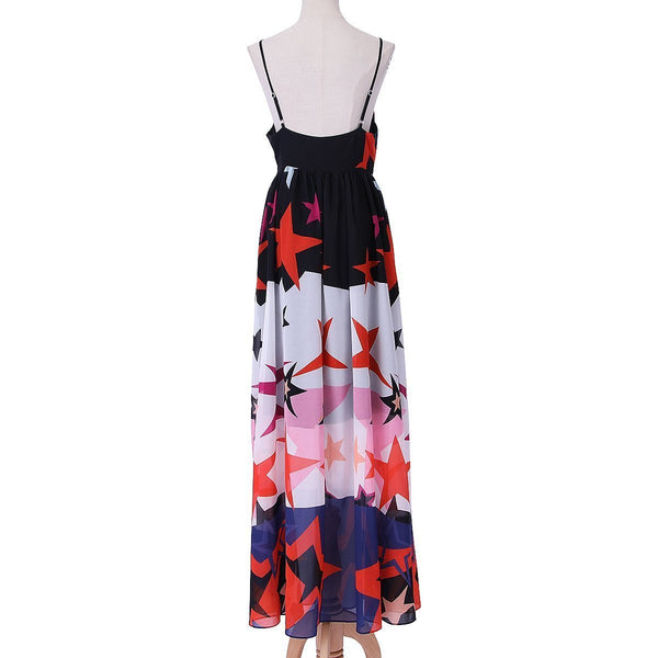 Sexy Halter Off Shoulder Floral Printed Evening Dress
