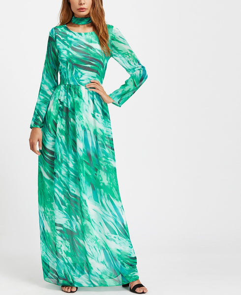 Casual Round Collar   Long Sleeve Floral Print Maxi Dresses