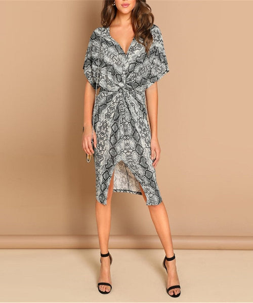 Casual Sexy V Neck   Snakeprint Midi Dresses