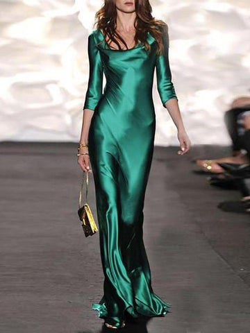 Casual Sexy V Neck   Pure Green Color Evening Party Maxi Dresses