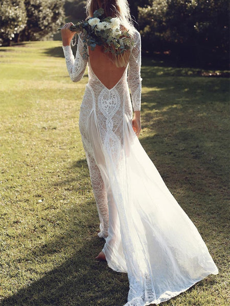 Elegant Lace Splicing Bare Back Chiffon Maxi Dresses