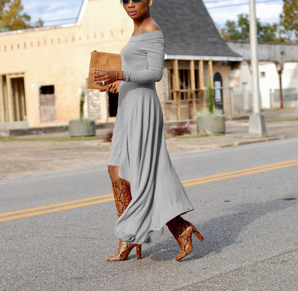 Casual Sexy Boat Neck   Long Sleeve Pure Color  Maxi Dress