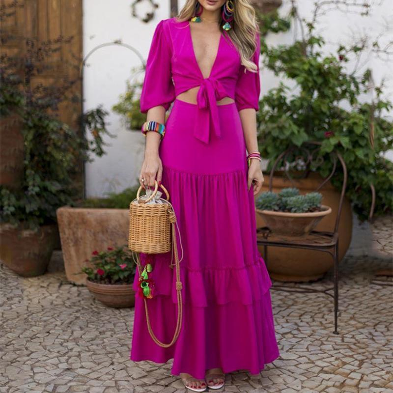 Sexy Belted Pure Colour Wrap Chest Maxi Dress