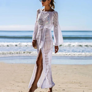 Casual Sexy Hollow Out   Sandbeach Sunscreen Knitted Maxi Dresses