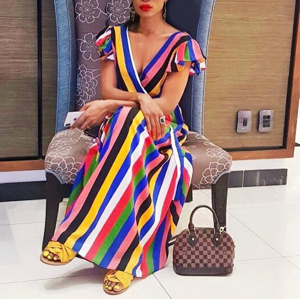Sexy V-Neck Lotus Leaf Bandage Color Rainbow Vertical Stripe Dress