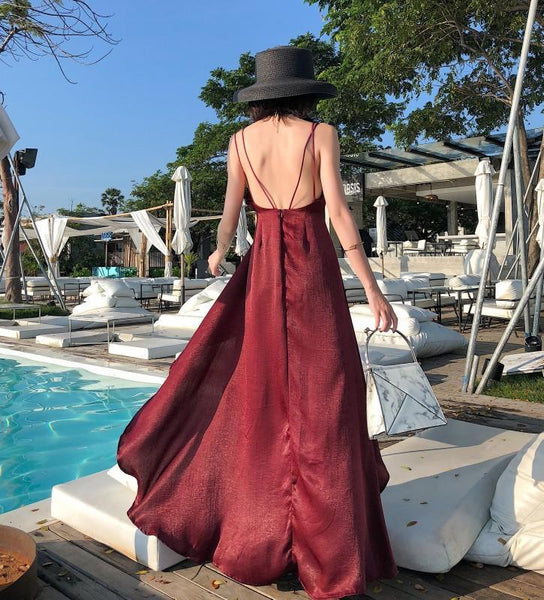 Casual Vacation   Sexy  V Neck Backless Pure Color Sling   Maxi Dress