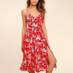 Casual Sexy Deep V   Neck Floral Print Sling Mini Dresses