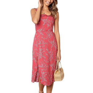 Casual Sexy Backless   Sling Floral Print Maxi Dresses