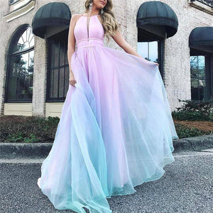 Sexy Halter Dew Shoulder Gradient Evening Dress