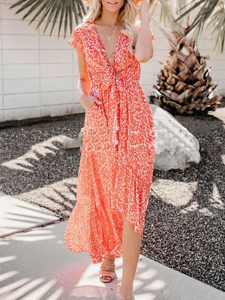 Casual Printed Colour V Neck Belted Maxi Dresses