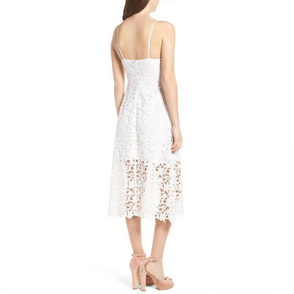 Sexy Pure Color Sleeveless Bohemia Sling Lace Splicing Dress