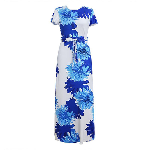 Sexy Round Neck Printed Short Sleeve Dress