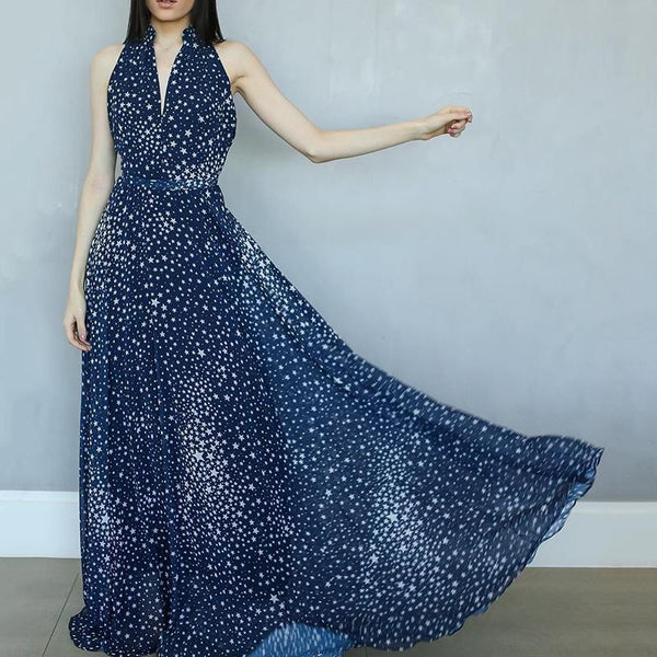A Long Dress With Stars Hanging Around The Neck Maxi Dress