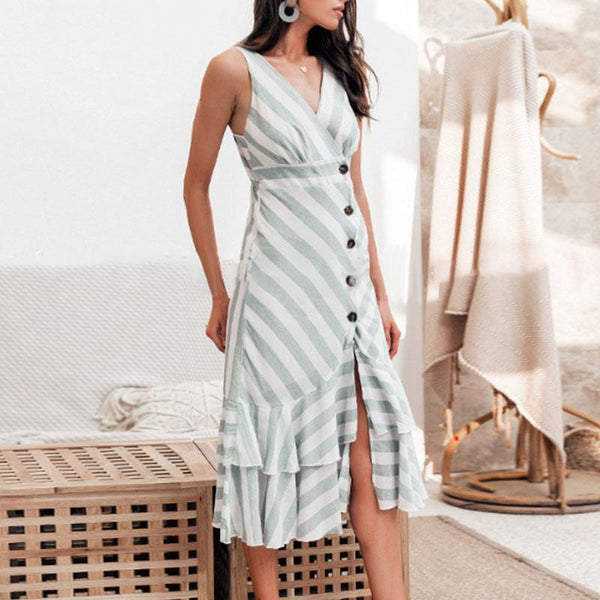 Sexy Fashion Stripe V Neck Sling Dress
