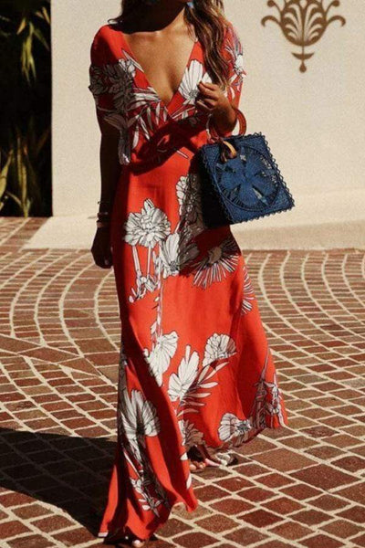 Deep V Neck  Floral Printed  Short Sleeve Maxi Dresses