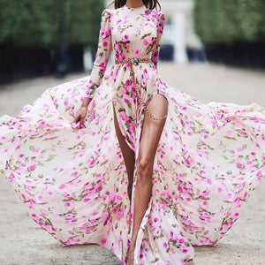 Round Neck Long Sleeve Print Sexy Double Slit Dress