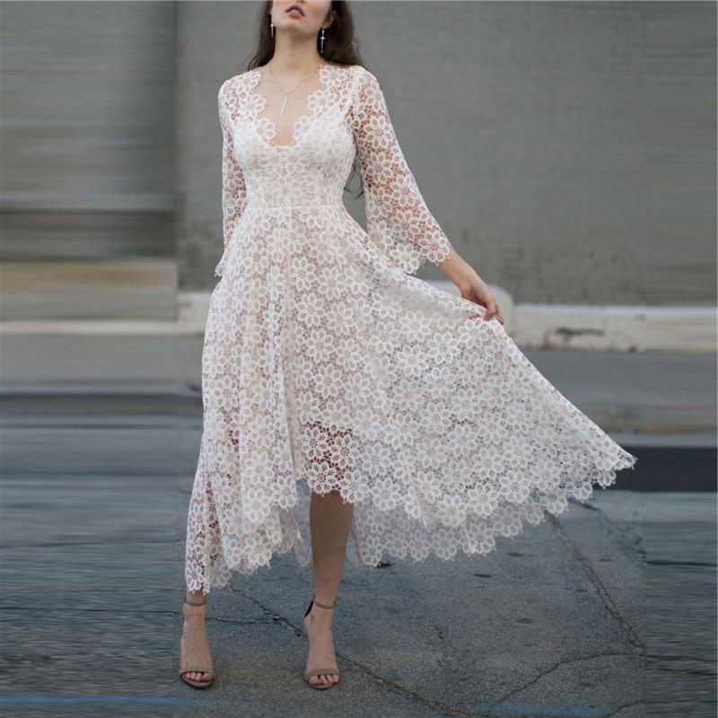 Fashion Deep V Flare Sleeve Lace Dresses