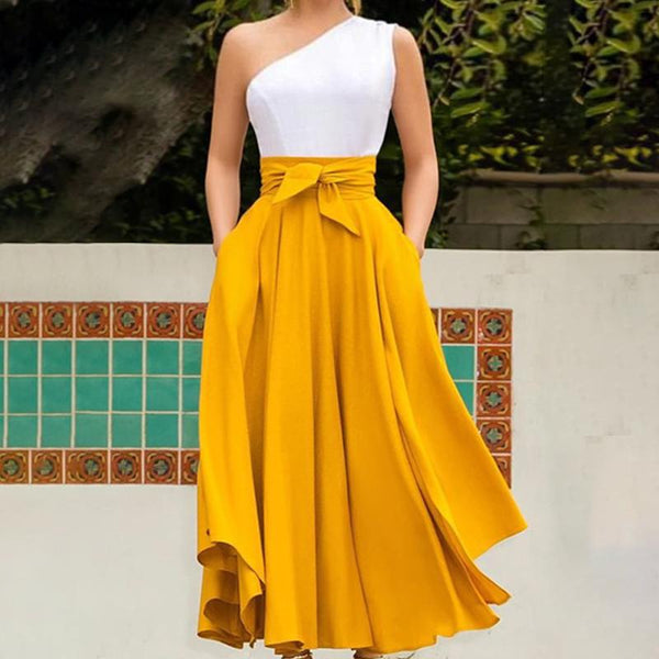 European And American Style Pure Color Bare Back Splicing Maxi Dress